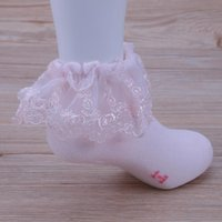 Wholesale girls ruffled lace socks resale online - 3 Pairs Baby Girls Cotton Lace Ruffle Frilly Ankle Short Socks Princess Girls Children Spring Summer Socks