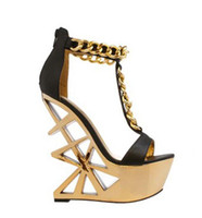 Wholesale cutout fashion - newest cutout gold metallic heels woman sandal strange style t-strap wedge sandal open toe chains decorations gladiator