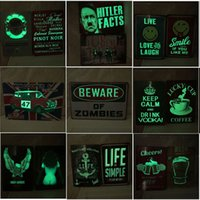 Wholesale vintage tavern signs resale online - Night Luminous Metal Painting Beer Coffee Vintage Sign Tin Poster Pub Bar Cafe Shop Wall Art Decoration Worldwide Tavern styles