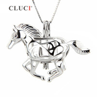 Wholesale animal galloping online - CLUCI galloping Horse sterling silver locket necklace cage pendant S18101607