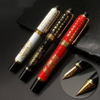 Wholesale luxury writing pens resale online - Metal ballpoint pen Without Pencil Box luxury school Office Stationery luxury Writing Cute ball pen Engraved dragon Biro pen