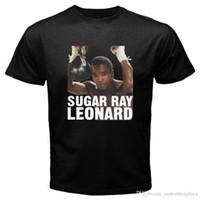 siyah şeker toptan satış-Yeni Şeker Ray Leonard 80 S Boks Fabrika Çıkış Legend erkek Siyah T-Shirt Boyutu S-3Xl Tee Gömlek erkek Rahat Kısa Kollu Moda