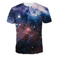 galáxia dos homens camisetas venda por atacado-Homens t-shirt de fitness galaxy 3d encabeça gótico moda streetwear mens casual sportswear material macio t-shirt do punk tshirts dropship