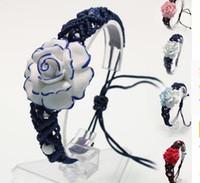 bracelet en porcelaine chinoise achat en gros de-Livraison Gratuite Wholesale10pcs Chinois À La Main BlueWhite Porcelaine Belle Bracelet Bracelet