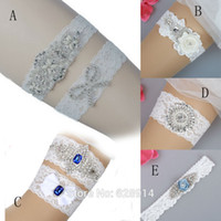 Wholesale purple wedding garters - Luxury White Lace Wedding Garter Bridal Garter Handmade With Pearl Beads and Clear Rhinestones HY0023
