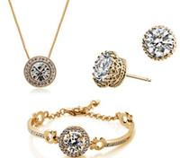 ingrosso collane in oro bianco perla di perle-Moda austriaca cristallo collana bracciale orecchini gioielli set 18 k placcato oro realizzato con swarovski elements gioielli da sposa 3 pz / set hxy