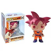 Wholesale vinyl 24 - Funko Pop Dragon Ball Z Goku Super Saiyan God Vinyl Action Figure With Box #24 Red Gift