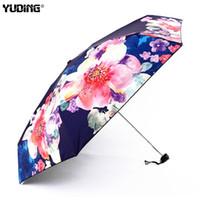 dibujo de paraguas al por mayor-Yuding Mujeres Floral Paraguas Plegable Impermeable UV Paraguas Sol Arte Dibujo Flor Mini Soleado Parasol Señoras