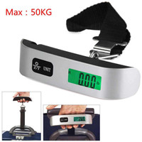 Wholesale hand weigh scales for sale - Group buy 50kg Capacity Mini Digital Luggage Scale Hand Held LCD Electronic Scale Electronic Hanging Scale Thermometer Weighing Device AAA989