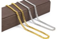 Wholesale real solid 24k gold - Real 24K Yellow Gold Rhodium Plated Solid Cuban Curb Chain Mens Necklace Hip Hop Jewelry hip hop Style