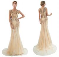 balo elbiseleri fotoğrafları toptan satış-Real Resimleri 2019 Yeni Geliş Tasarımcı Altın Gelinlik Modelleri Sequins Boncuklu Mermaid Akşam Elbise Kat Uzunluk Parti Törenlerinde CPS1170