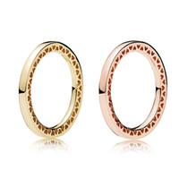 mejores regalos para las mujeres al por mayor-925 Anillo de oro rosa de plata esterlina con corazones radiantes Caja original para joyería Pandora Anillo de oro para mujeres El mejor regalo