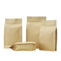 bolsa de papel marrón con cierre zip al por mayor-Papel Kraft Ocho borde de sellado Bolsas, Zip Lock Brown del papel de aluminio Espesar el envasado de café, nuez, cereales alimentarios del paquete bolsas 6 tamaños disponibles