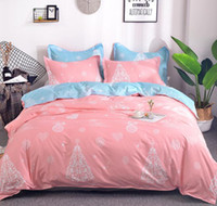 Wholesale blue christmas bedding resale online - 3 Christmas Bedding Set Pink and Blue Christmas Tree Printed Bedding Set Duver Cover with Pillow Case