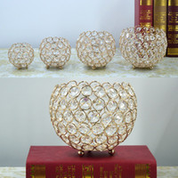 Wholesale crystal ball candle - New Gold Crystal Ball Votive Candle Holders Mosaic Crack Candlestick Home Decor Dinner Wedding Party Gifts Bar Decoration No Candle WX9-321