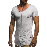 Wholesale gym t shirts for men - Men Rough Selvedge T Shirt Five Soild Color Short Sleeves New Summer Casual Tee Basic Wear For Gym