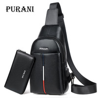 мужская плеча оптовых-PURANI  Man Sling Bag Men Chest Pack Messenger Bag Men Leather Shoulder Crossbody Bags for Mens Purses and Handbags