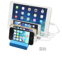 taban yerleştirme istasyonu toptan satış-Çoklu 4 Port USB Hub Dock Şarj Taşınabilir Masaüstü Şarj Baz Seyahat Smartphone Cihazı USB Şarj Istasyonu Şarj Docking Yeni