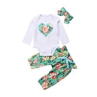 цветочные зимние брюки оптовых-2018 New Autumn Winter Lovely Clothes Sets Toddler Baby Girls Boys 3PCS Long Sleeve Floral Print Romper+Pants+Headband