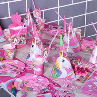 Wholesale paper popcorn boxes - 16 pcs  set unicorn theme party decoration happy birthday paper cup plated hat popcorn box unicorn theme party set GGA574 12lots