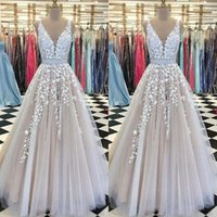 Wholesale cheap shiny prom dresses - A Line Long Evening Dresses With Sash Shiny Rhinestone Lace Appliques Modest Tulle Formal Prom Dress Cheap Party Gowns Sleeveless