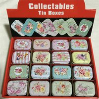 Wholesale Tin Box Printed - 32pcs Wholesale Mini Collectables tin boxes Flower Print Coin Storage Box Metal Tinplate Candy Box for Wedding ,Birthday Party