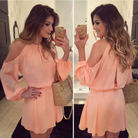 Wholesale long pink gown for sale - Group buy 2018 new chiffon strapless dress strap long sleeved dress casual solid color dress