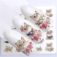 Wholesale led nails art online - ZKO PC Hot Nail Sticker Leading Knotted Cat Flower Beauty Water Transfer Stamping Nail Art Tips Decor Manicure Deca