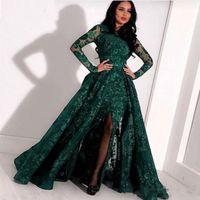 vestido azul completo venda por atacado-Verde oliva Mermaid manga comprida Prom vestidos formais com Overskirt 2019 Jewel Neck Dividir sereia sexy completa Lace Árabe Vestido de Noite