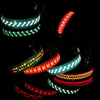 Wholesale leather dog collars wholesale for sale - Carved Flower Cortex Cats Dogs Chain Led Lighting Pet Cat Dog Collar Different Colors Pets Supplies Kitty Collars th gg