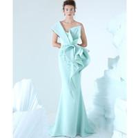 modern moda sanatı toptan satış-AzziOsta 2019 Mermaid Akşam Elbise Bir Omuz Nakış Ruffles Dantelli Parti Elbise Glamorous Dubai Moda Kat Uzunluk Balo Elbise