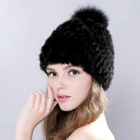 sombreros de visón para mujeres al por mayor-Nuevo y encantador sombrero de piel de visón real para las mujeres de invierno de punto de piel de visón gorros gorra con pompones de piel de fox a estrenar gruesa hembra cap D18110102