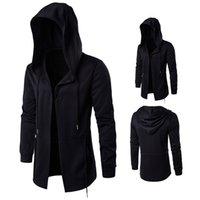 чёрный плащ с капюшоном оптовых-Men's Trench Windbreaker  New Hoodies Long Trench Coat Men Clothing Male Black Coat Windbreaker Jacket Plus Size 5XL