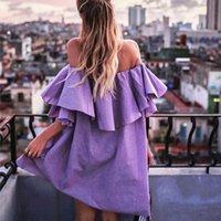 pflege partei kleid großhandel-Mode Umstands Ruffle kariertes Kleid weg von der Schulter Stillkleid für Partei Herbst Frühling Schulterfrei Stillen Kleider Schwangerschaft Frauen