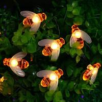 decoração solar exterior no xmas venda por atacado-Luzes Cordas solares com 20/30 LEDs Ao Ar Livre À Prova D 'Água Simulação Abelhas Mel Decoração de Luz para o Jardim Decorações Do Partido Do Xmas