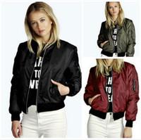 Wholesale biker bomber - Women Short Baseball Jacket Sports Coat Bomber Long Sleeve Zipper Slim Solid Color Long Sleeve Biker Bomber Jacket Top OOA4166