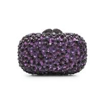 bolsos morados de boda al por mayor-Las mujeres de color púrpura Rhinestones noche de cristal del bolso de embrague del vestido de boda nupcial cadenas de diamantes bolsos de hombro monederos (8646A-S)