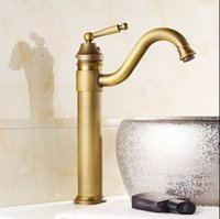 Wholesale Antique Ship Sinks - Free shipping vintage faucet antique finishing brass taps bath mixer basin faucets silver antique black golden hot and cold sink