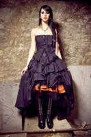 ingrosso vestito dalla corea che spedice liberamente-Abiti da sposa vittoriani 2019 New Steampunk Gothic Lolita Ispirato Vampiro Nero Custom Abiti da sposa da sposa Plus Size Formal Wear 530