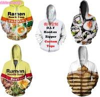 Wholesale 4xl zip up hoodie - New Fashion Couples Men Women Unisex Noodles Food 3D Print Zipper Zip Up Hoodies Jacket Top L15