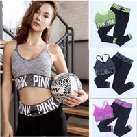 Wholesale Fitness Hooks - Love Pink Tracksuit Sport Fitness Long Pants+vest Bra 2pcs Set Bandlet Stripped Bra and Leggings Running Yoga Gym Suit Womens Ladies Outfits