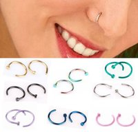 Wholesale wholesale nose clip jewelry - Body Ring Fake Piercing Jewelry 7 Colors Women Nostril Nose Hoop Stainless Steel Nose Rings Clip on Nose Body Jewelry Gift