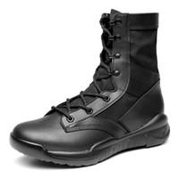 ingrosso scarpone di sicurezza in pelle per l'inverno-LettBao 2018 New Army Boots Lace Up Stivali invernali Uomo Nero Desert Leather Shoes Uomo Scarpe di sicurezza per Botines Hombre