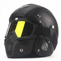 Wholesale Vintage Scooter Helmet Xl - AHP Leather Vintage Motorbike Motorcycle Helmet Mask Retro Open Face Jet Scooter Motorcycle Helmet Goggles Cap For Harley