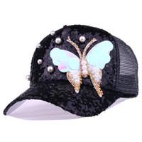 chapéus de lantejoulas pretas venda por atacado-Verão ajustável preto branco snapback cap chapéu moda lantejoulas strass borboleta com pérola boné de beisebol chapéu das mulheres ao ar livre