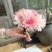 Wholesale Artificial Pink Gerbera - Artificial Flowers Wedding Decoration Daisy Flowers Gerbera Flores Artificial Plants Fake Flowers Bouquet Home Decor 7 pcs lot