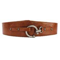 ceintures en cuir marron filles achat en gros de-Nouvelle ceinture de mode femmes décorer élastique ceinture large stretch PU ceintures en cuir fille Ceinture noir marron femmes Ceintures SHIERXI