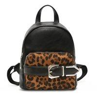 sacos de escola do leopardo das meninas venda por atacado-NOVA moda rebite mulheres mochila cópia do leopardo bolsa de ombro punk sacos de escola para adolescentes menina mochila de viagem sacos de couro