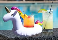 Wholesale ring buoys inflatable resale online - Inflatable Unicorn Drink Cup Holder Pool Floats Summer Cup Holder Swim Ring Water Toys Mini Unicorn Boia Piscina Buoy
