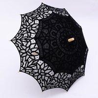 ingrosso ombrello di nozze nera-Ombrello di pizzo nero Ombrello Fancy Hollow Vintage Victorian Wedding Parasols per la sposa damigella d'onore di buona qualità Colore personalizzato